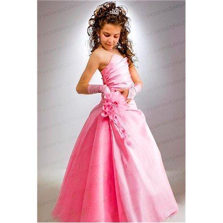 Детское нарядное платье розовая трапеция 2918