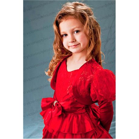 Нарядное гипюровое красное платье с болеро 1460