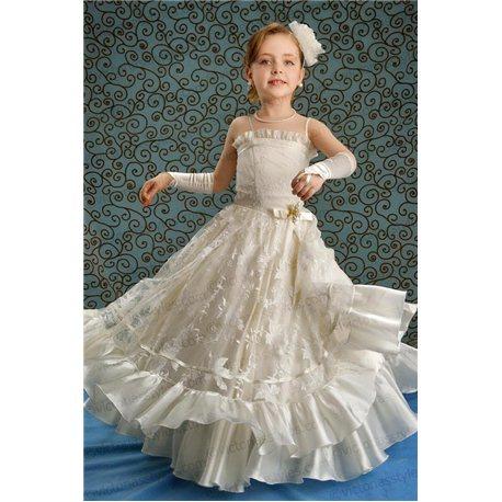 Нарядное платье для девочки нежно-бежевое 1288