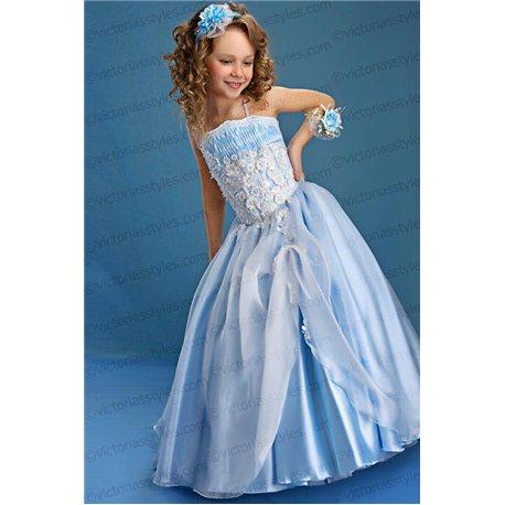 Нарядное платье для девочки голубое 2213