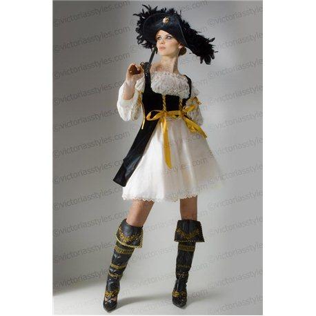Взрослый Карнавальный Костюм Пиратка черная с бежевым Джулия 3169