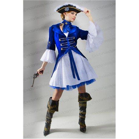 Взрослый Карнавальный Костюм Пиратка синяя 3184