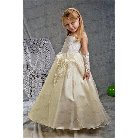 Нарядное платье для девочки бежевое 4213