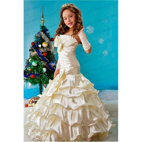 Детское элегантное платье Стефани бежевая 3953