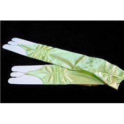 Mănuși pentru fetiţe din satin, fără degete mai sus de cot, lucioase, ondulate, cu fundiță, de culoare verde 3616