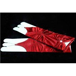 Mănuși pentru fetiţe din satin, fără degete, până la cot, lucioase, ondulate, cu fundiță, de culoare bordo 3613