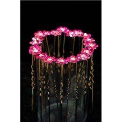 Шпильки для волос цветок из 6-ти камней и прозрачным камнем в центре 3802