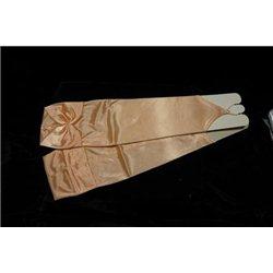 Mănuși pentru fetiţe din satin, fără degete mai sus de cot , de culoarea piersic 3015