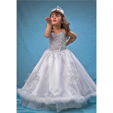 Карнавальное платье Снегурочки из парчи 0002