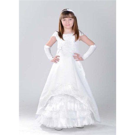 Детское платье Талия белое с рукавом по плечам 2191