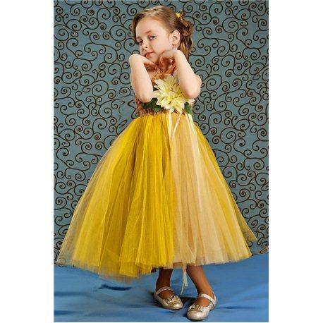 Rochiță elegantă pentru fetițe galbenă 3857