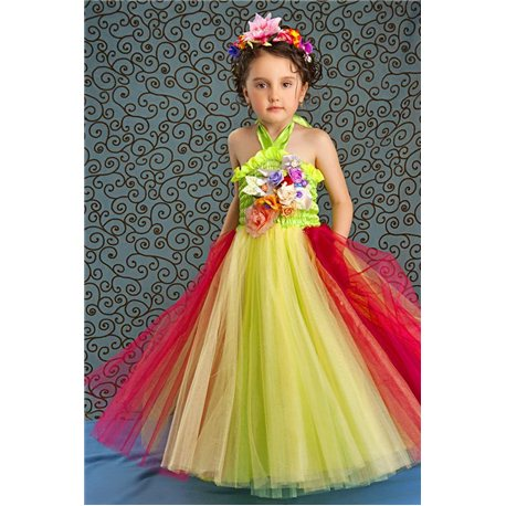 Rochiță pentru fetițe galbenă verde cu roze 3858