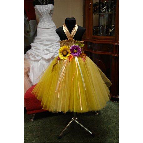 Детское нарядное платье Хризантема золотая 3879