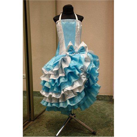 Детское нарядное платье Румба парча голубая 4430