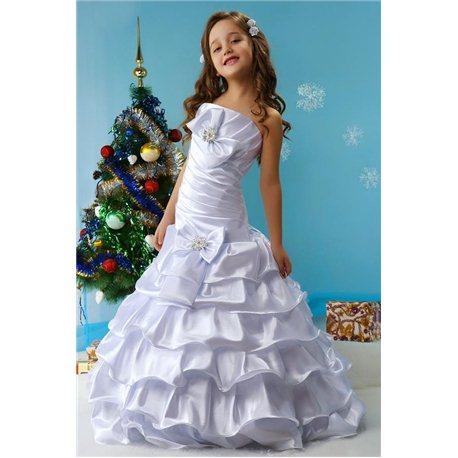 Изумительное детское платье Стефани белое 4468