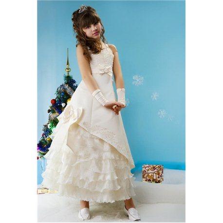 Детское платье Талия бежевое на одно плечо 4471