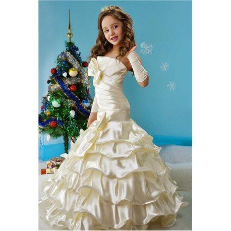 Детское элегантное платье Стефани бежевое 4486