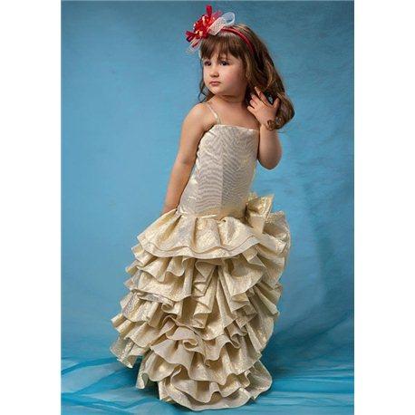 Детские нарядные платья Румба парча золотая 4510