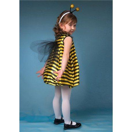 Детский карнавальный и маскарадный костюм Пчелка набор ( платье, рожки) 4680, 4717