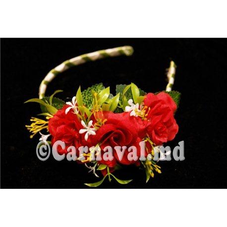 Карнавальные принадлежности обруч красные розы 0027