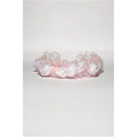 Обруч розовый с белыми цветами 3454