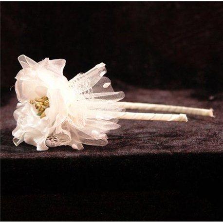 Обруч белый цветок 4298