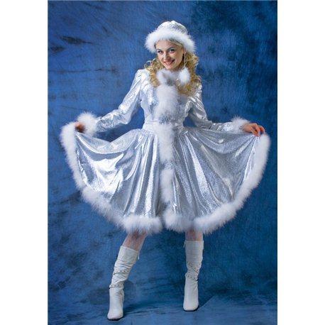 Взрослый карнавальный костюм Снегурочка из серебряной парчи р.48 4730, 4731