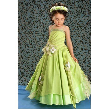 Rochiţă pentru fetiţe cu bretele de culoare verde deschis 1544