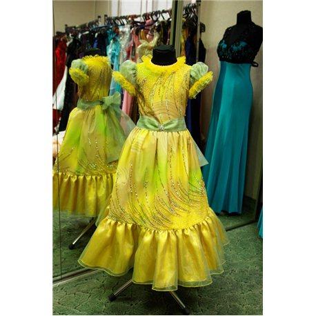 """Платье для девочек """"Aven"""" жёлтое с поясом,Осень 1624"""