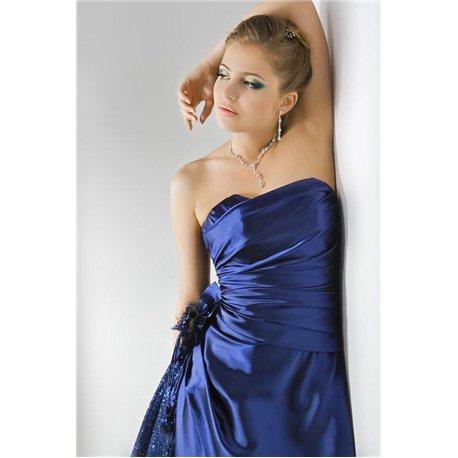 Вечернее платье короткое синее 3334