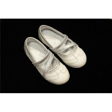 Обувь детская нарядная для девочек белая с серебром р.27 3813