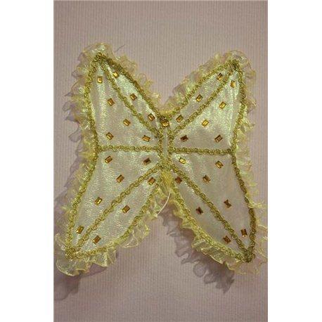 Крылья золотая органза-жатка с камнями 1759