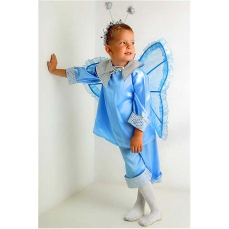 Крылья карнавальные Бабочки голубые с рюшечками 1739