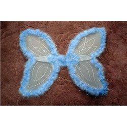 Крылья карнавальные бабочки голубые с пухом 1688