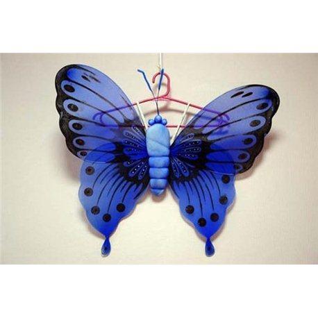 Крылья карнавальные бабочки синие с тельцем 1685