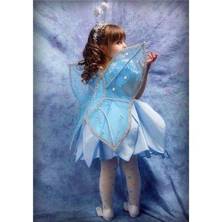 Крылья бабочки бледно-голубые с квадратными камнями 0889