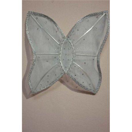 Крылья бабочки бледно-голубые с круглыми камнями 0792