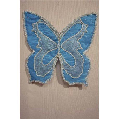 Крылья карнавальные бабочки темно-голубые с сеткой 0203