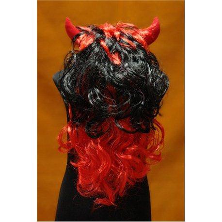 Карнавальный парик Чертовки черно-красный 4116