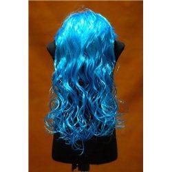Карнавальный парик Мальвины длинный кучерявый голубой 4113