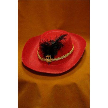 Карнавальная шляпа Мушкетера детская красная с пером 4063