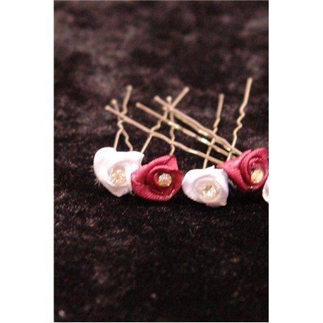 Шпильки для волос из розочки со стразом (бордовые, белые) 3541