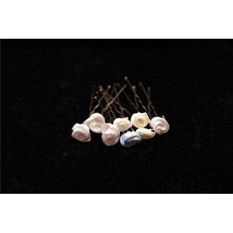 Шпильки для волос маленькие розочки (белые, бежевые, голубые, розовые, оранжевые) 3543