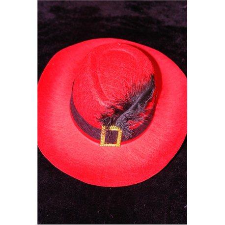 Карнавальная шляпа Мушкетера красная 4654