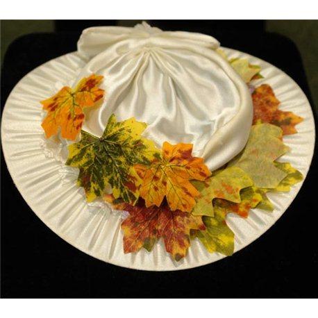 Детская карнавальная шляпка осенняя с фатином и листьями клена 4558
