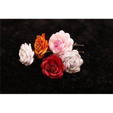 Шпильки для волос розы с блёсками (белые, голубые, розовые, желтые,бежевые) 3552