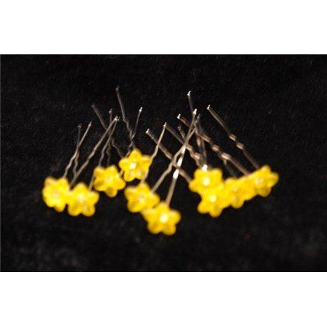 Шпильки для волос цветочки (желтые, оранжевые, белые) 3551