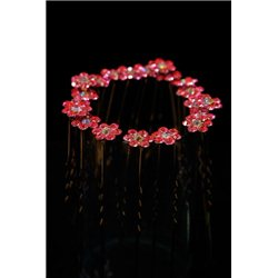 Fuchsia rhinestones flower girl hairpin
