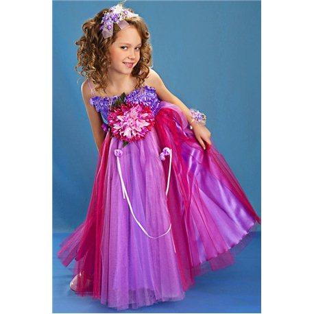 Карнавальное платье для девочки Хризантема бордово-сиреневая 3852