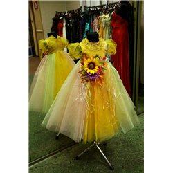 Rochiţă pentru fetita Crizantemă, Toamna cu aplicaţie florală 0605
